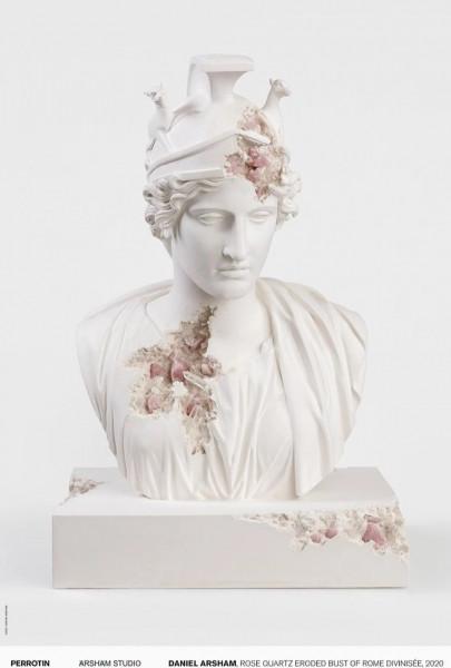 Daniel Arsham. Rose Quartz Eroded Bust of Rome Divinisée, 2020