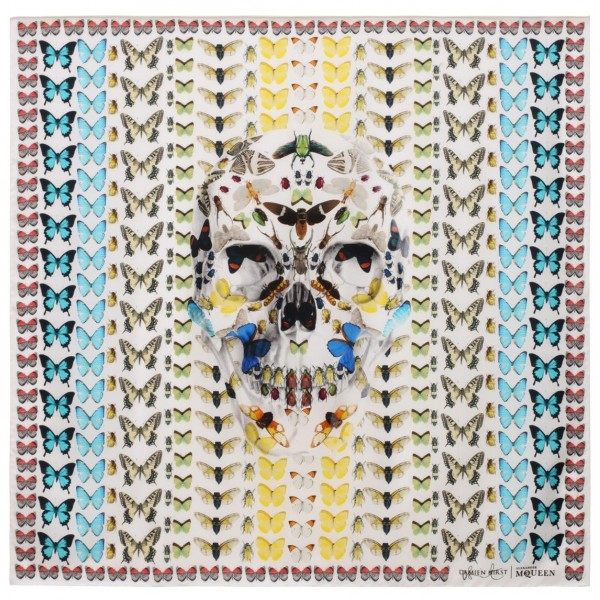 Damien Hirst.The Forgiveness Skull Butterfly Grid Scarf, 2013