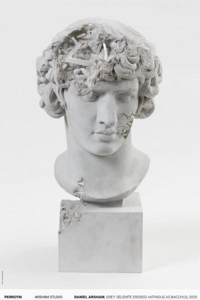 Daniel Arsham: Grey Selenite Eroded Antinous as Bacchus, 2020